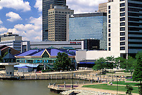 Riverfront scene, cityscape of Toledo, Ohio, Maumee River, Promenade Park, COSI Toledo museum (Center of Science & Industry).