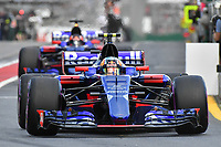 March 25, 2017: Carlos Sainz (ESP) #55 from the Scuderia Toro Rosso team leaves the pits for the qualifying session at the 2017 Australian Formula One Grand Prix at Albert Park, Melbourne, Australia. Photo Sydney Low