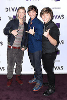"LOS ANGELES, CA - DECEMBER 16: Drew Chadwick, Wesley Stromberg and Keaton Stromberg of the band Emblem3 arrive at ""VH1 Divas"" 2012 held at The Shrine Auditorium on December 16, 2012 in Los Angeles, California.  Credit: MediaPunch Inc. /NortePhoto"