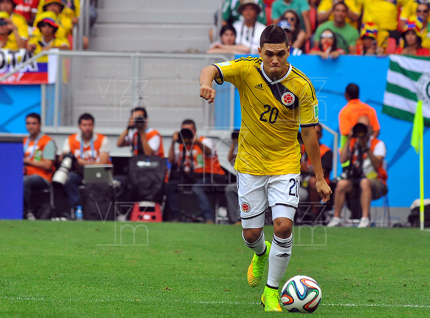 BRASILIA - BRASIL -19-06-2014. Juan Quintero jugador de Colombia (COL) en acción durante partido del Grupo C contra Costa de Marfil (CIV) por la Copa Mundial de la FIFA Brasil 2014 jugado en el estadio Mané Garricha de Brasilia./ Juan Quintero player of Colombia (COL) in action during the macth of the Group C against Costa de Marfil (CIV) for the 2014 FIFA World Cup Brazil played at Mane Garricha stadium in Brasilia. Photo: VizzorImage / Alfredo Gutiérrez / Contribuidor