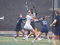 Towson, MD - February 10, 2018: Towson Emily Gillingham (45) scores a goal during game between Towson and Penn St at  Minnegan Field at Johnny Unitas Stadium  in Towson, MD.   (Photo by Elliott Brown/Media Images International)