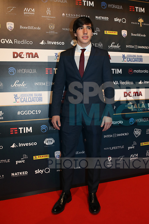 Sandro Tonali pictured at the The Italian Footballers Association Grand Gala of Football at the Megawatt Court, Milan. Picture date: 2nd December 2019. Picture credit should read: Jonathan Moscrop/Sportimage