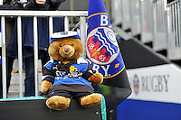 A teddy bear kitted out in Bath Rugby colours. LV= Cup match, between Bath Rugby and Exeter Chiefs on November 17, 2013 at the Recreation Ground in Bath, England. Photo by: Patrick Khachfe / Onside Images