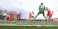 Cameron McGeehan of Luton Town puts his team ahead during the Sky Bet League 2 match between York City and Luton Town at Bootham Crescent, York, England on 27 February 2016. Photo by Liam Smith.