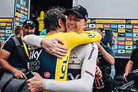Picture by Russell Ellis/russellis.co.uk/SWpix.com - image archived on 25/04/2019 Cycling Tour de France 2018 - Team Sky at the Tour de France - STAGE 20: SAINT-PÉE-SUR-NIVELLE - ESPELETTE 28/07/2018 ITT Individual Time Trial<br /> - Geraint Thomas with Chris Froome