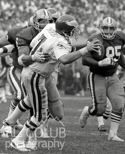 San Francisco 49ers vs. Philadelphia Eagles at Candlestick Park Sunday, November 3, 1985..49ers beat the Eagles 24-13.Philadelphia Eagles Quarterback Ron Jaworski (7) sacked...