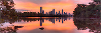 One of the iconic locations to shoot the Austin skyline is Lou Neff Point along the Zilker Park Hike and Bike trail. I enjoy visiting this location in the early morning when the waters of Lady Bird Lake are often calm. This image of downtown Austin is a stitch of several images to form a panorama in an attempt to capture the beautiful morning in the capitol city of Texas.