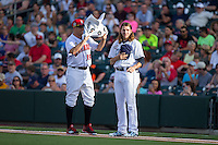 International League All-Star pitcher Mike Clevinger (39) of the Columbus Clippers gets fanned with a towel by Frank Duncan (35) of the Indianapolis Indians as he attempts to be the last player standing on the line following the National Anthem at the 29th Annual Triple-A All-Star Game at BB&T BallPark on July 13, 2016 in Charlotte, North Carolina.  The International League defeated the Pacific Coast League 4-2.   (Brian Westerholt/Four Seam Images)
