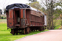 Bouza has a collection of old railway carriages that will be converted into a tasting room. Currently in a state of terrible disrepair. The interior with broken benches no roof, ripped up seats, broken windows... Bodega Bouza Winery, Canelones, Montevideo, Uruguay, South America