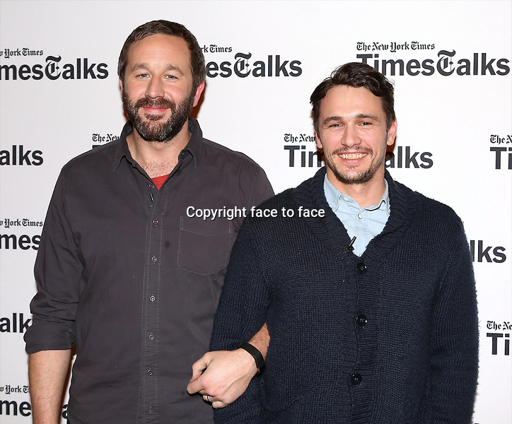 Chris O'Dowd and James Franco backstage at TimesTalks Presents 'An Evening With James Franco And Chris O'Dowd' at the Times Center on March 7, 2014 in New York City.<br />
