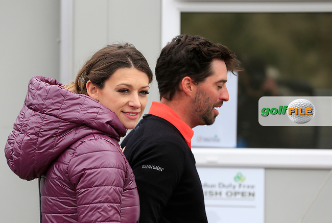John PARRY (ENG) and Cassandra McClure after Saturday's Round 3 of the 2015 Dubai Duty Free Irish Open, Royal County Down Golf Club, Newcastle Co Down, Northern Ireland 5/30/2015<br /> Picture Eoin Clarke, www.golffile.ie