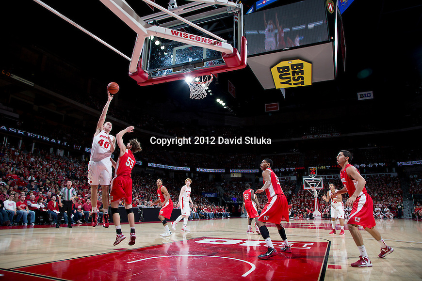 Wisconsin Badgers forward Jared Berggren (40) shoots the ball during an NCAA  college basketball game against the Cornell Big Red Sunday, November 18, 2012 in Madison, Wis. The Badgers won 73-40. (Photo by David Stluka)