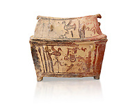 Minoan  pottery gabled larnax coffin chest with birds and marine animals,  Anthanatoi 1370-1250 BC, Heraklion Archaeological  Museum, white background.