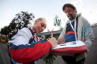Sep 5, 2007; Stuttgart, Germany; Samantha Peszek of USA signs autograph for fan after USA won women's artistic gymnastics team gold at 2007 World Championships. Photo by Copyright 2007 Tom Theobald