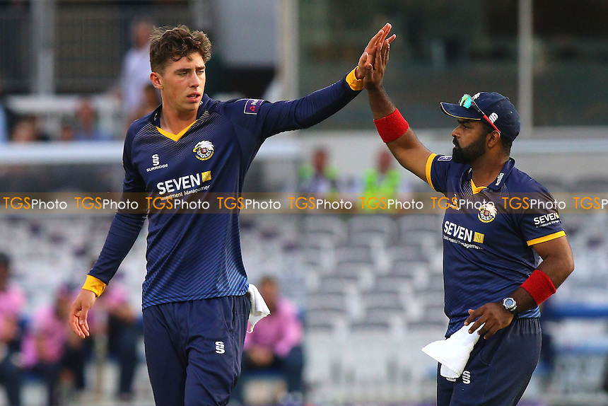 Daniel Lawrence of Essex (L) celebrates taking the wicket of Nick Gubbins during Middlesex vs Essex Eagles, NatWest T20 Blast Cricket at Lord's Cricket Ground on 28th July 2016