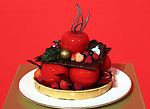 "October 12, 2017, Tokyo, Japan - A Christmas wreath shaped Christmas cake ""Apple wreath"" priced 15,000 yen is displayed at a press preview for the Prince Hotels chain's Christmas cake collection at the Prince Park Tower hotel  in Tokyo on Thursday, Octoebr 12, 2017. The hotel chain started to accept orders and will deliver before Christmas Day.   (Photo by Yoshio Tsunoda/AFLO) LWX -ytd-"