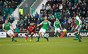4th November 2017, Easter Road, Edinburgh, Scotland; Scottish Premiership football, Hibernian versus Dundee; Dundee's Faissal El Bakhtaoui dies in a shot