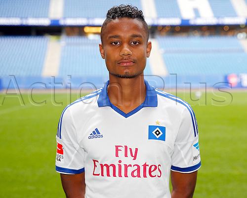 30.07.2013. Hamburg, Germany.  German Bundesliga soccer club Hamburger SV's Michael Macienne poses during the official photo shoot for the season 2013-14 at Hamburg's Imtech Arena stadium.