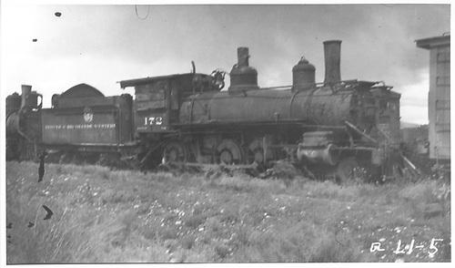 Engine #172 stored dead.<br /> D&amp;RGW  Gunnison, CO  8/11/1935