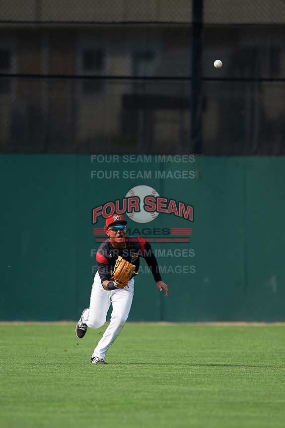 Batavia Muckdogs center fielder Ricardo Cespedes (47) catches a shallow fly ball during the second game of a doubleheader against the Mahoning Valley Scrappers on September 4, 2017 at Dwyer Stadium in Batavia, New York.  Mahoning Valley defeated Batavia 6-2.  (Mike Janes/Four Seam Images)
