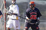 Palos Verdes, CA 04/12/13 - Leonard Ferdman (Beverly Hills #26) in action during the Beverly Hills vs Peninsula Varsity Boys Lacrosse game.  Peninsula defeated Beverly Hills 8-5.