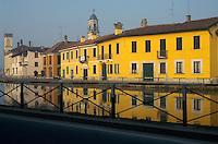 - view of Gaggiano village on Naviglio Grande channel....- veduta del paese Gaggiano sul Naviglio Grande