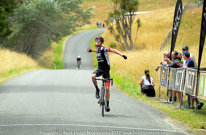 Sam Crome (IsoWhey Sports SwissWellness) wins the NZ Cycle Classic stage two of the UCI Oceania Tour in Wairarapa, New Zealand on Monday, 23 January 2017. Photo: Dave Lintott / lintottphoto.co.nz