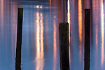 A close-up of Elliot Bay creates a pattern of lines with old pilings and reflections of city lights, Seattle, Washington.
