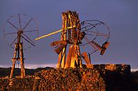 Europe/Espagne/Canaries/Lanzarote/Costa de Teguise : Salines del Charco anciennes éoliennes
