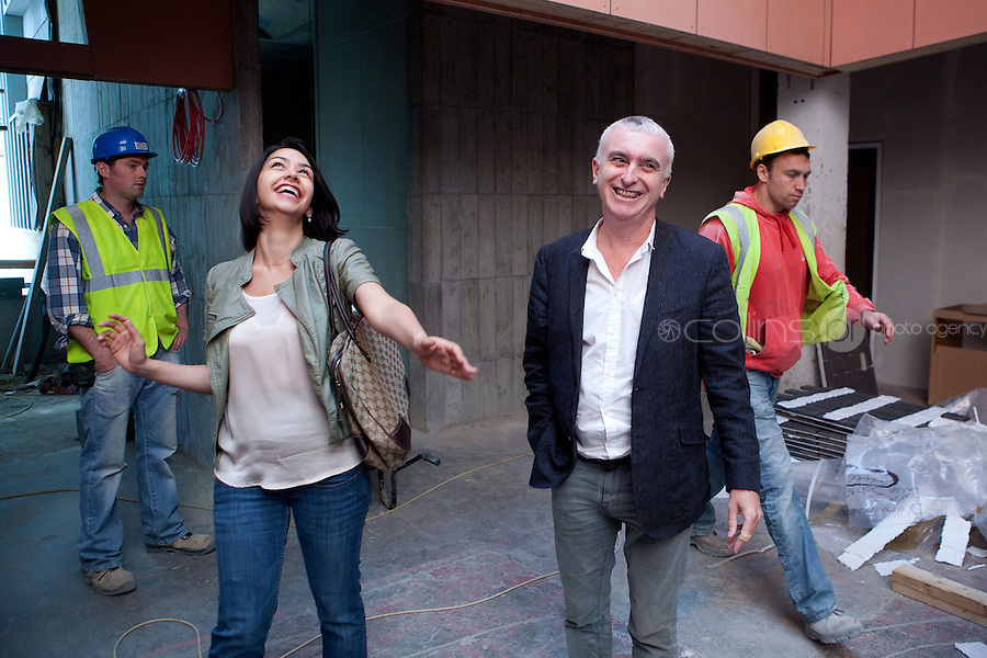 28/6/2011. Danielle Ryan, is pictured with Joe Kennedy managing director of Smith Kennedy Architects onsite at the building of the National Academy of Dramatic Art - The Lir - in Dublin, Ireland. Picture James Horan/Collins Photos