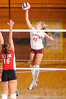 20 November 2008:  Denver outside hitter Jordan Raines (11) hits a kill shot during the WKU 3-0 victory over Denver in the first round of the Sun Belt Conference Championship tournament at FIU Stadium in Miami, Florida.