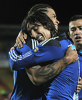 BOGOTA - COLOMBIA -09 -05-2015: Rafael Robayo (Der.), jugador de Millonarios, celebra el gol anotado al Deportivo Independiente Medellin, durante partido entre Millonarios y Deportivo Independiente Medellin,  por la fecha 19 de la Liga Aguila I-2015, jugado en el estadio Nemesio Camacho El Campin de la ciudad de Bogota.  / Rafael Robayo (R), player of Millonarios celebrates the scored goal to Deportivo Independiente Medellin, during a match between Millonarios and Deportivo Independiente Medellin, for the date 19 of the Liga Aguila I-2015 at the Nemesio Camacho El Campin Stadium in Bogota city, Photo: VizzorImage / Luis Ramirez / Staff.