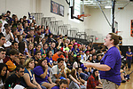 WATERTOWN, CT, 31 August, 2017 - 083117LW02 - Link Crew coordinator Paulina Auclair, right, talks to incoming freshmen about the value of their time at Watertown High School Thursday.<br /> Laraine Weschler Republican-American