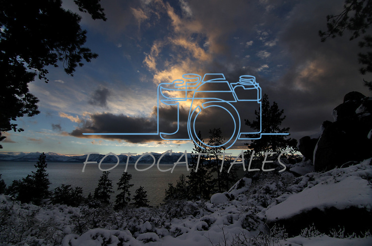 The sunset at Lake Tahoe, near Cave Rock, on Thursday, Dec. 30, 2010 in Incline Village, Nev. <br /> Photo by Cathleen Allison