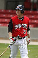 Todd Frazier of the Carolina Mudcats in the on deck circle against  the Huntsville Stars on April 22, 2009 at Five County Stadium in Zebulon, NC