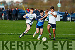 All eyes on the ball between Darragh Kennedy of  I T Tralee and Nathan Donnelly and Michael McKiernan of the Ulster University in the 1st round game in the Sigerson Cup Senior football in John Mitchells on Sunday.
