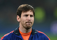 FUSSBALL  CHAMPIONS LEAGUE  ACHTELFINALE  HINSPIEL  2012/2013      AC Mailand - FC Barcelona     20.02.2013 Lionel Messi (Barca) nachdenklich