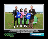 Portarlington Golf Club Girls With Kate Wright CGI and Brendan Byrne Bank of Ireland.<br /> Junior golfers from across Leinster practicing their skills at the regional finals of the Dubai Duty Free Irish Open Skills Challenge supported by Bank of Ireland at the Heritage Golf Club, Killinard, Co Laois. 2/04/2016.<br /> Picture: Golffile | Fran Caffrey<br /> <br /> <br /> All photo usage must carry mandatory copyright credit (© Golffile | Fran Caffrey)