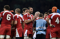 Mamuka Gorgodze of Georgia speaks to his team during a break in play. Rugby World Cup Pool C match between New Zealand and Georgia on October 2, 2015 at the Millennium Stadium in Cardiff, Wales. Photo by: Patrick Khachfe / Onside Images