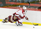 Alex Biega (Harvard - 3) - The Boston College Eagles defeated the Harvard University Crimson 3-2 on Wednesday, December 9, 2009, at Bright Hockey Center in Cambridge, Massachusetts.