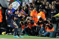 ATENCAO EDITOR IMAGEM EMBARGADA PARA VEICULOS INTERNACIONAIS - BARCELONA, ESPANHA, 16 DEZEMBRO 2012 - Adriano Correia jogador do Barcelona comemora seu gol durante partida contra o Atletico de Madrid pela 16 Rodada do Campeonato Espanhol no Camp Nou em Barcelona capital da Catalunha na Espanha. (FOTO: ALFAQUI / BRAZIL PHOTO PRESS).