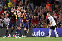 02/09/2012 - Liga Football Spain, FC Barcelona vs. Valencia CF Matchday 3 - Adriano celebrates his goal with Pedro and other team mates
