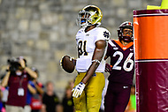 Blacksburg, VA - OCT 6, 2018: Notre Dame Fighting Irish wide receiver Miles Boykin (81) catches a touchdown pass over Virginia Tech Hokies defensive back Jovonn Quillen (26) during game between Notre Dame and Virginia Tech at Lane Stadium/Worsham Field Blacksburg, VA. (Photo by Phil Peters/Media Images International)