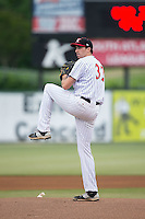 Kannapolis Intimidators starting pitcher Zach Thompson (32) in action against the Asheville Tourists at Intimidators Stadium on May 28, 2016 in Kannapolis, North Carolina.  The Intimidators defeated the Tourists 5-4 in 10 innings.  (Brian Westerholt/Four Seam Images)
