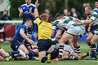 Luke Carter of Ealing Trailfinders scores a try during the British & Irish Cup Final match between Ealing Trailfinders and Leinster Rugby at Castle Bar, West Ealing, England  on 12 May 2018. Photo by David Horn / PRiME Media Images.