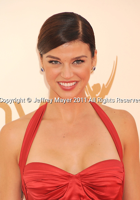 LOS ANGELES, CA - SEPTEMBER 18: Adrianne Palicki  arrives at the 63rd Primetime Emmy Awards at the Nokia Theatre L.A. Live on September 18, 2011 in Los Angeles, California.