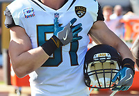 Jacksonville Jaguars linebacker Paul Posluszny (51) listens to the national anthem before kick-off against the Los Angeles Rams in a NFL game Sunday, October 15, 2017 in Jacksonville, Fl.  (Rick Wilson/Jacksonville Jaguars)