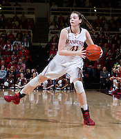 Stanford's Bonnie Samuelson, looks for open player during Stanford women's basketball  vs Washington State at Maples Pavilion, Stanford, California on March 1, 2014.