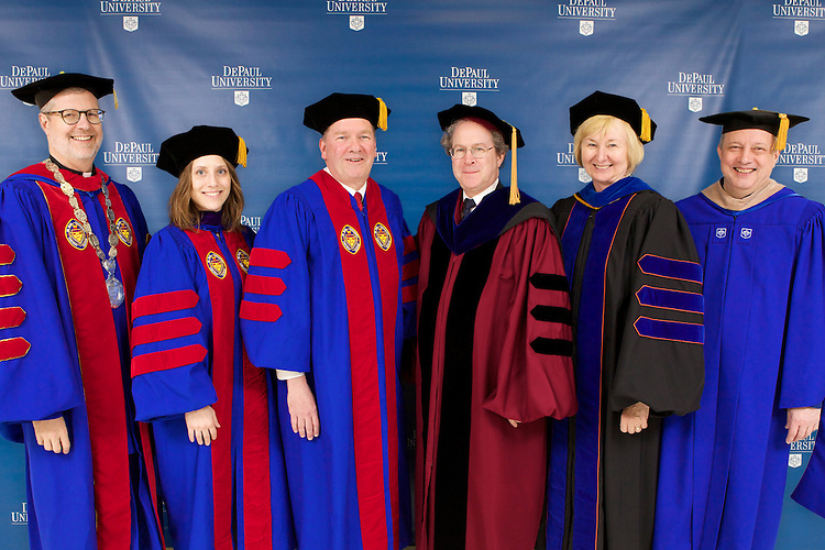 The Rev. Dennis H. Holtschneider, C.M., president of DePaul (left), Anna R. Szymczak, student speaker, honorary degree recipient and commencement speaker Thomas M. Durkin, United States District Judge, Gregory Mark, dean of the College of Law, Patricia O'Donoghue, Interim Provost and Robert Kozoman, Executive Vice President. DePaul University College of Law held its commencement May 18, 2014 at the Rosemont Theatre in Rosemont, IL. Some 313 students earned law degrees — 295 Juris Doctors and 18 Master of Laws degrees, in health law, intellectual property, international law and taxation. The commencement speaker was United States District Judge Thomas M. Durkin, who also received an honorary degree. (DePaul University/Jeff Carrion)