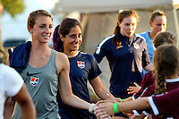 Piscataway, NJ - Wednesday Sept. 07, 2016: Theresa Diederich, Danielle Schulmann, Catherine Zimmerman prior to a regular season National Women's Soccer League (NWSL) match between Sky Blue FC and the Orlando Pride FC at Yurcak Field.